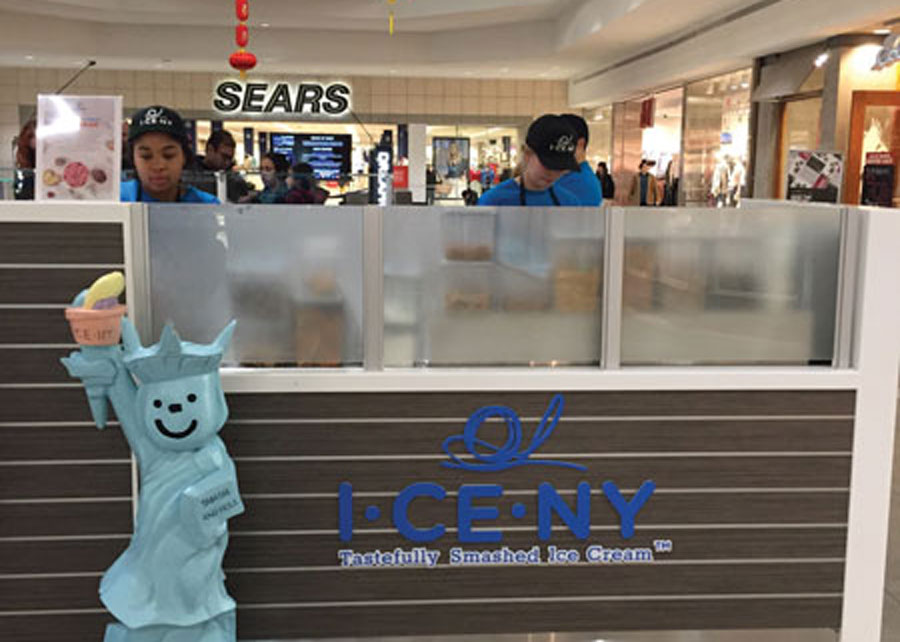 """I•CE•NY, which sells """"rolled ice cream,"""" recently opened at Briarwood Mall. The ice cream style was developed by a business in Thailand in 2011 and has become popular worldwide."""