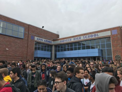 Students walked out of Pioneer Feb. 21 at noon to protest gun violence in schools following the Feb. 14 mass shooting in Parkland, Fla.