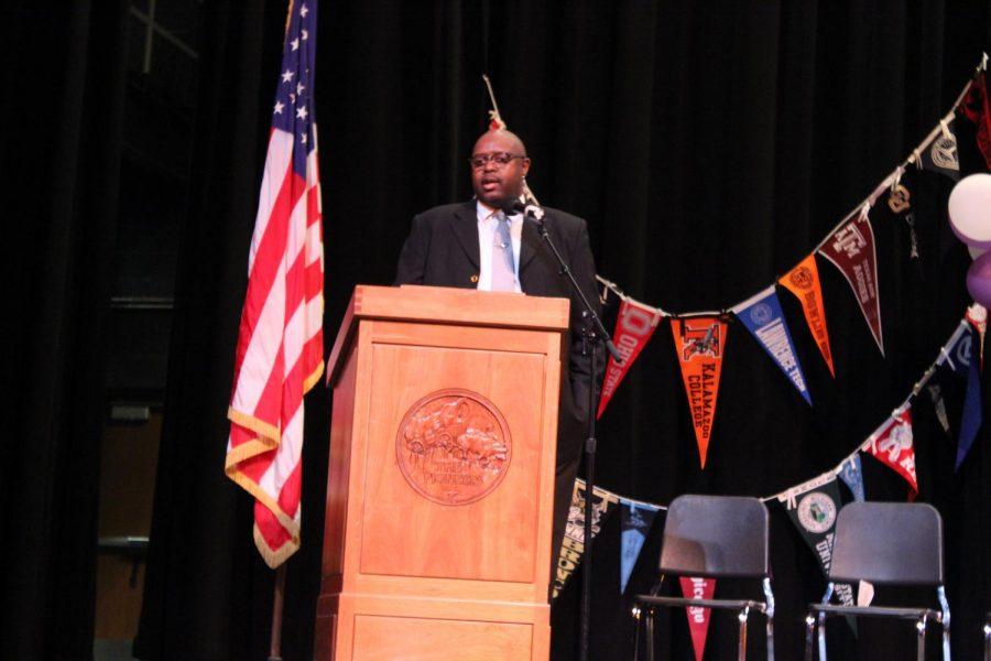 Principal Lowder addresses the crowd.