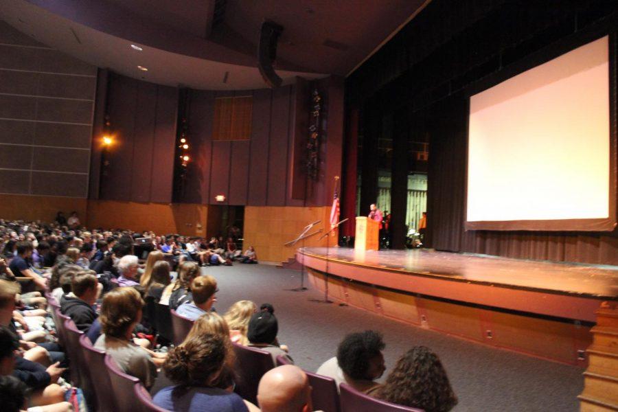 Senior Marquan Kane speaks at the assembly.