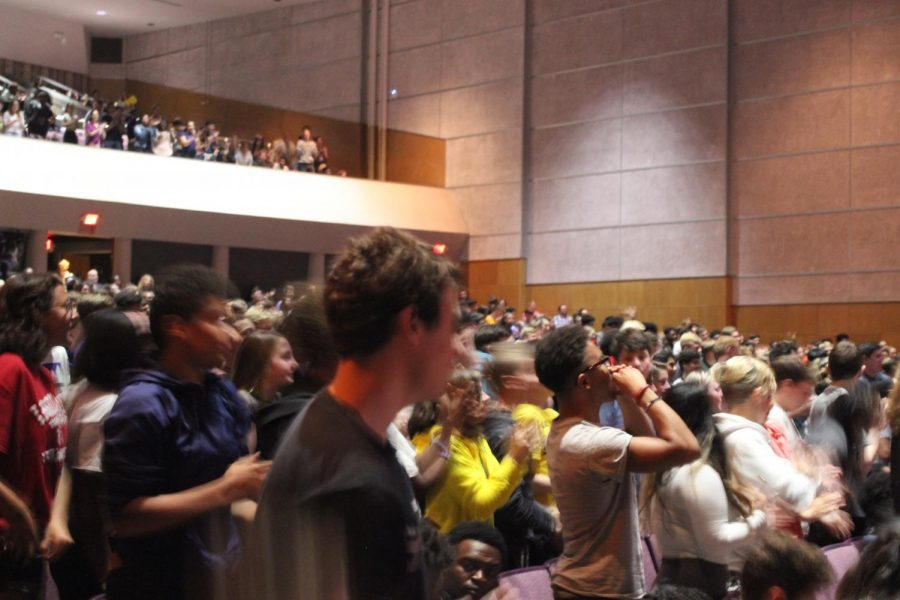 Students give Marquan Kane a standing ovation at the end of his speech.