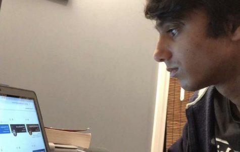 Pioneer junior Shailen Chugh uses his computer to both complete online schooling and stay in touch with friends during the COVID stay-at-home order.