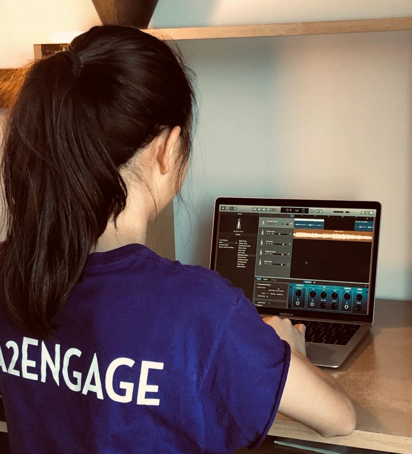 Wang edits an episode of her podcast through GarageBand. (Image courtesy of Rebecca Wang)