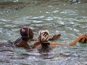 Quoia Sam, far left, playing water polo: one of the many sports affected by the new halt (Image courtesy of Quoia Sam).